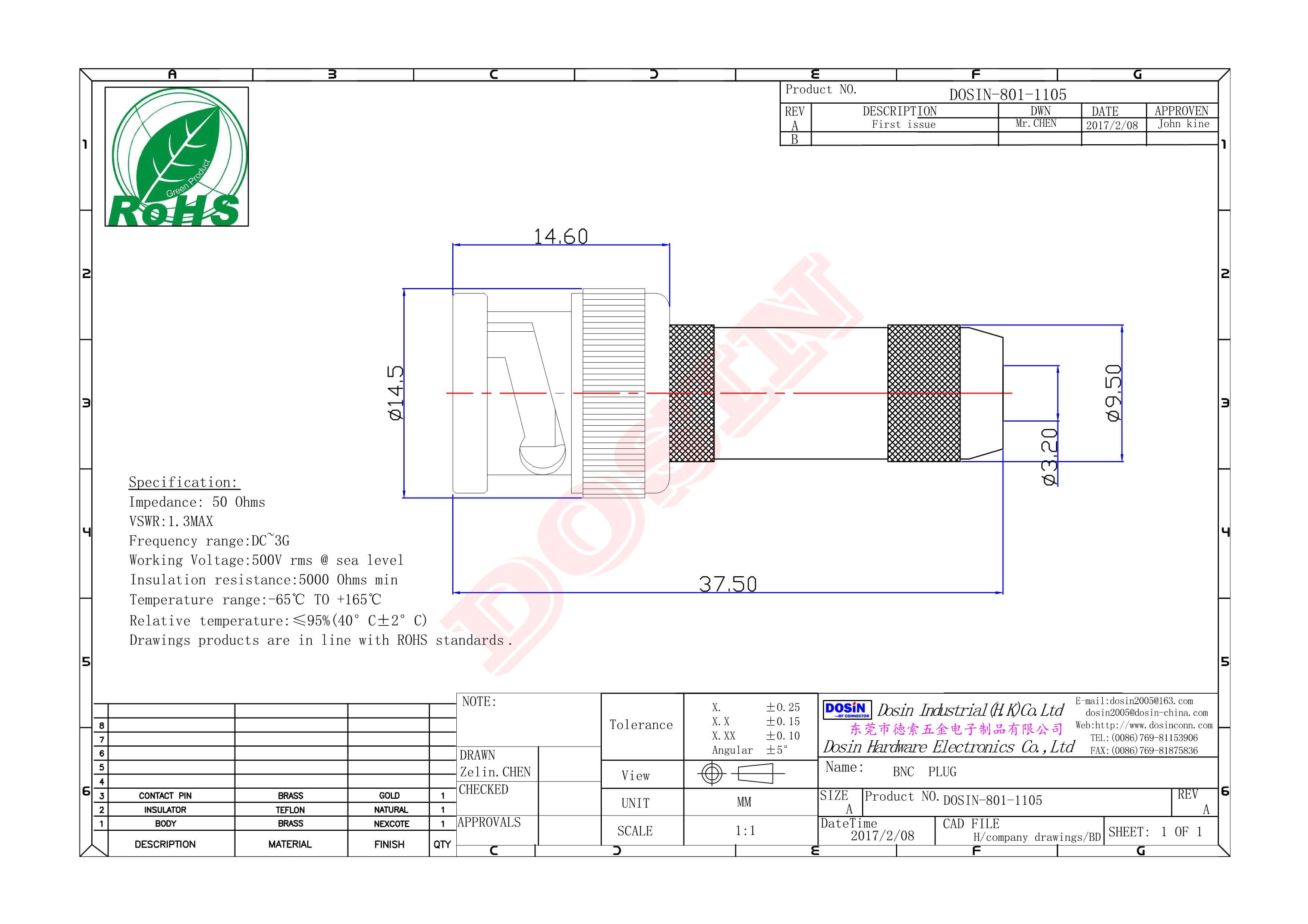 BNC母头插座RF射频连接器PCB板端插板