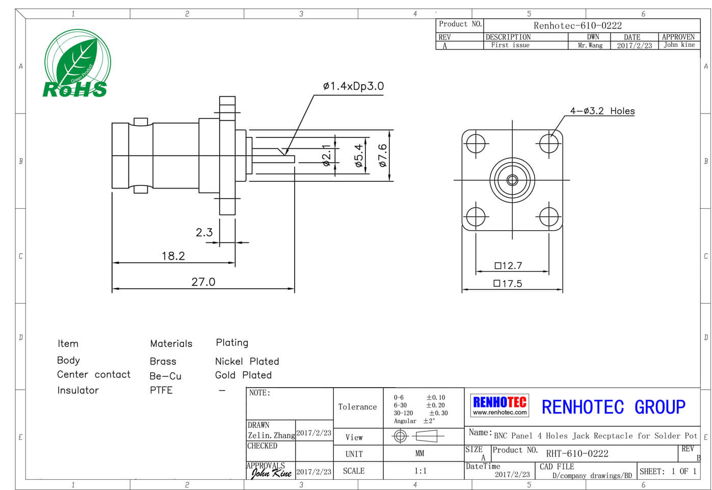 法兰型bnc接头接线方式母头直式压接式接线