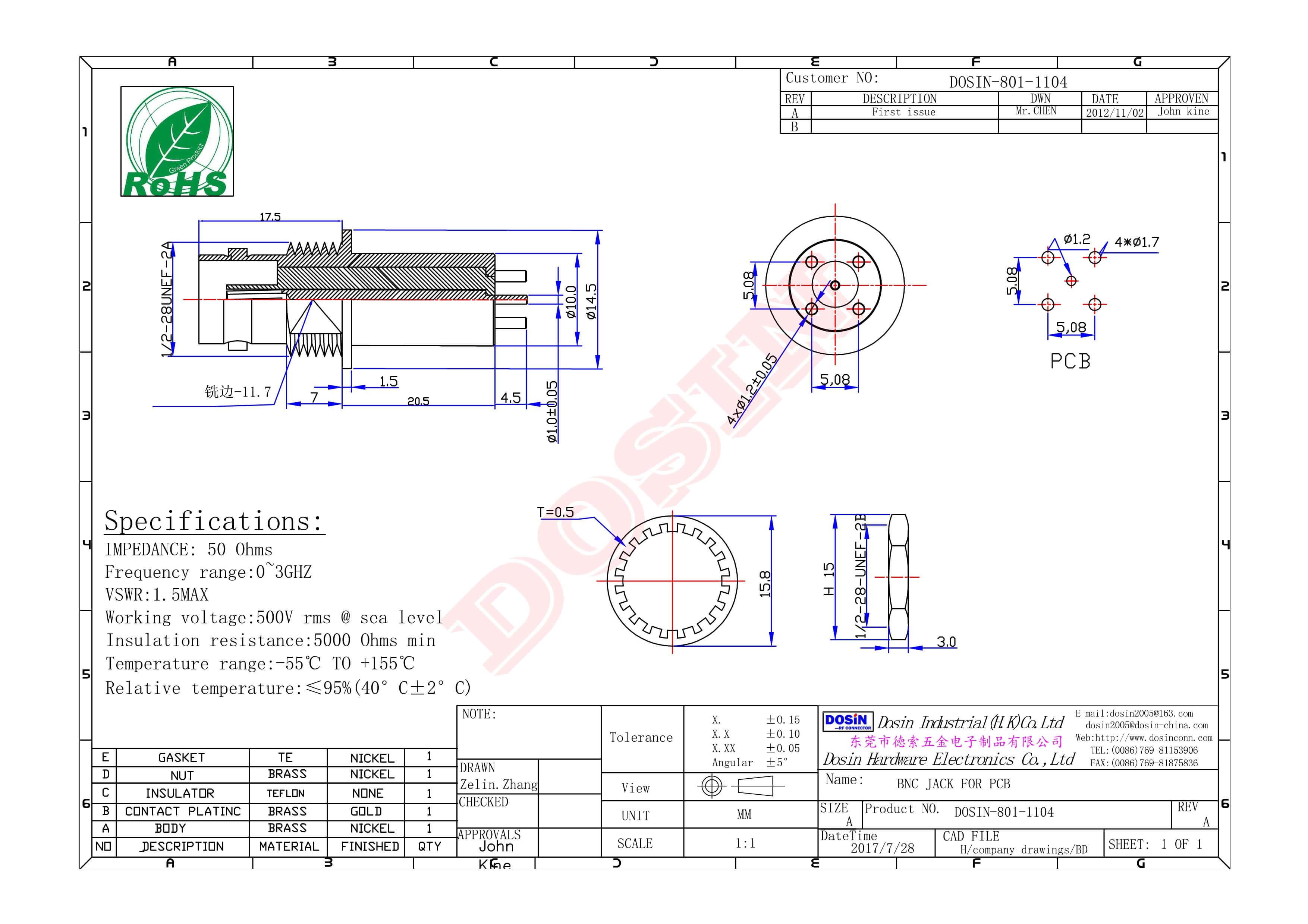 bnc公头连接器直式180度公针压接式接同轴线缆