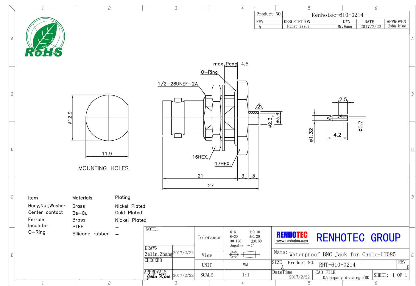 直插式bnc母头直式面板安装穿孔式接PCB板