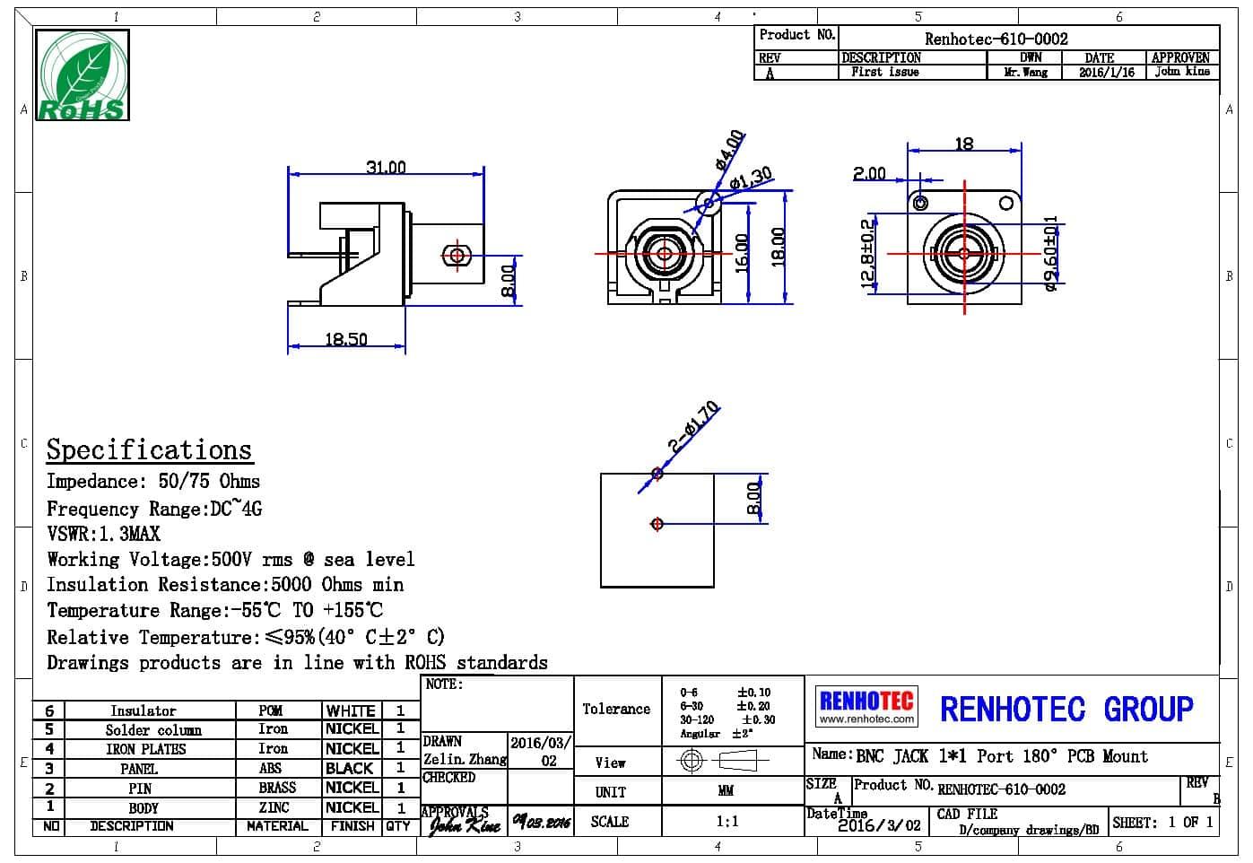 bnc rca连接器弯式穿孔接PCB板