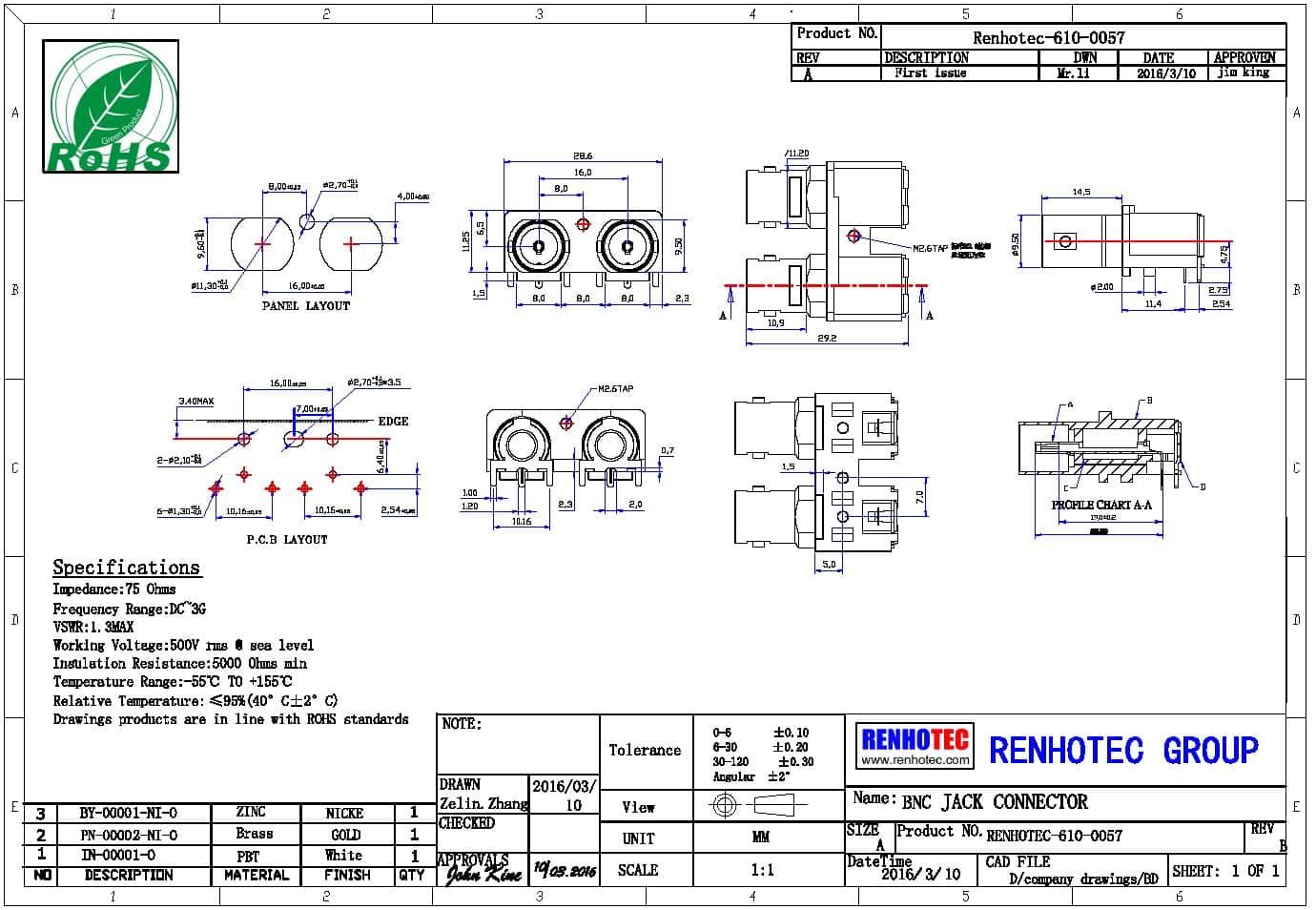 RF连接器BNC公头直式180度镀镍插PCB板