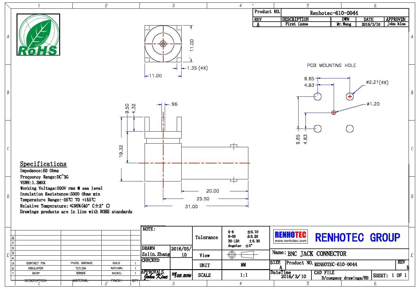 弯式BNC连接器母头带针短螺纹卯压式接PCB板