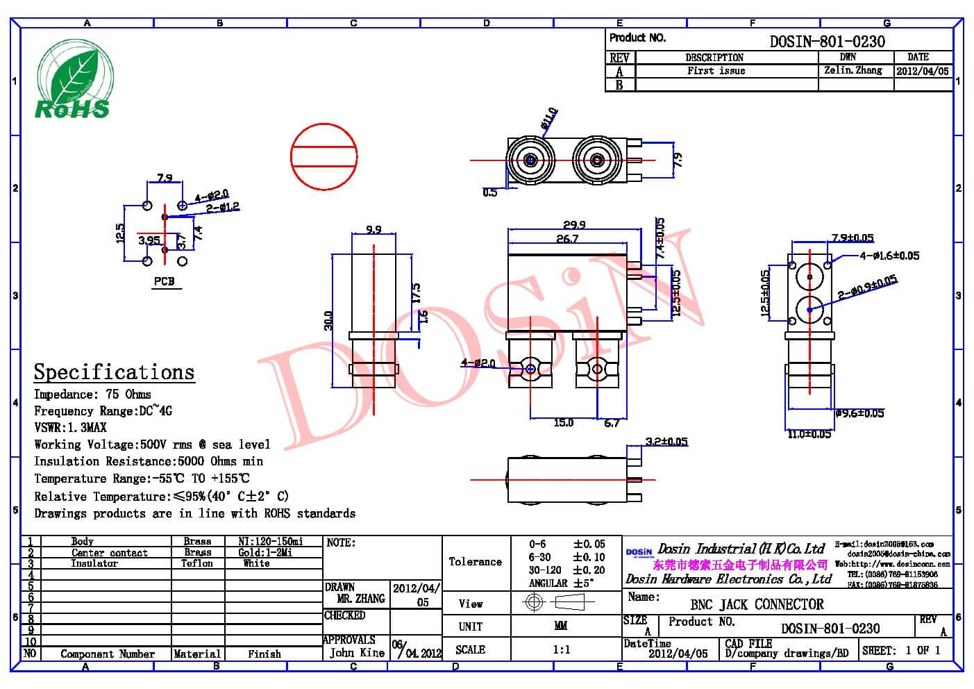 弯式BNC连接器母头PCB板5.2mm 穿孔式75欧姆