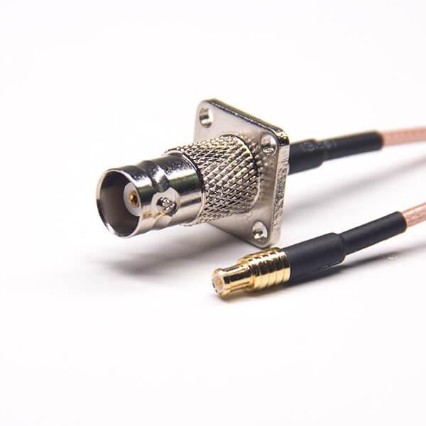 带法兰盘的BNC接头50欧姆母头直式转MCX公头直式接RG316线