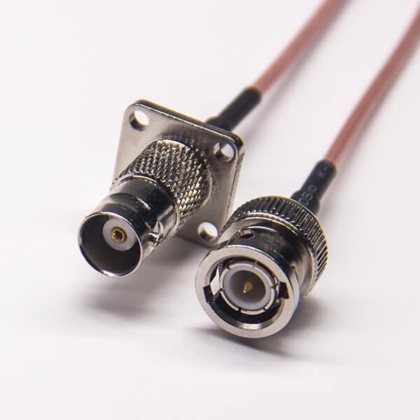 bnc线缆接头180度转bnc四孔法兰母头接RG316线