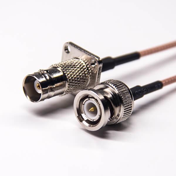 bnc接口线缆直从头转bnc母四孔法兰接RG316线