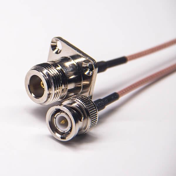 n母头四方连接器转bnc直式公头射频线